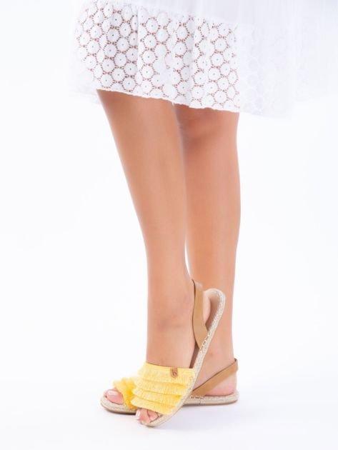 Żółte sandały z ozdobnym frędzelkowym przodem                              zdj.                              3