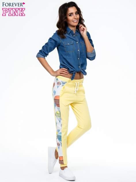 Żółte spodnie dresowe z lampasem w balony                                  zdj.                                  2