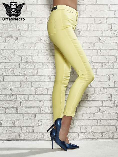 Żółte spodnie rurki skinny                                  zdj.                                  3