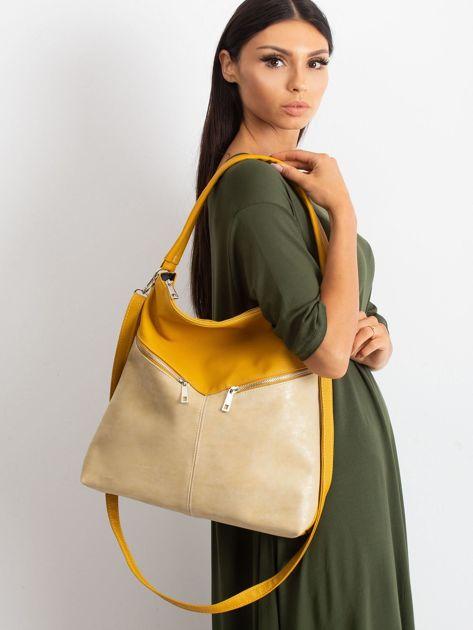 Żółto-beżowa torba z odpinanym paskiem                              zdj.                              4
