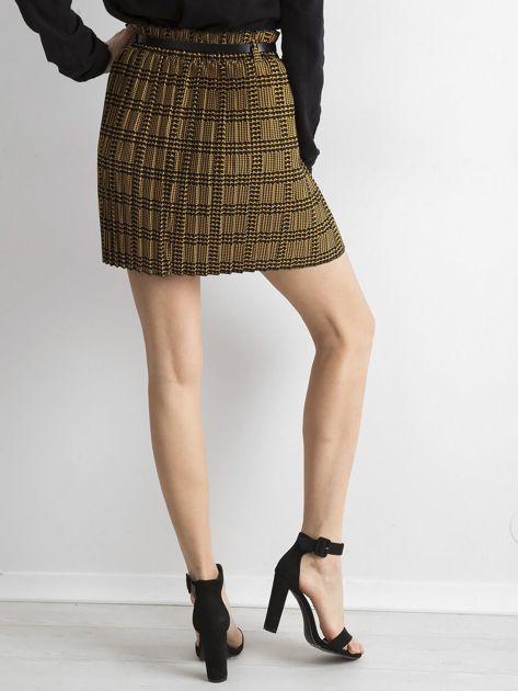 Żółto-czarna plisowana spódnica we wzory                              zdj.                              2