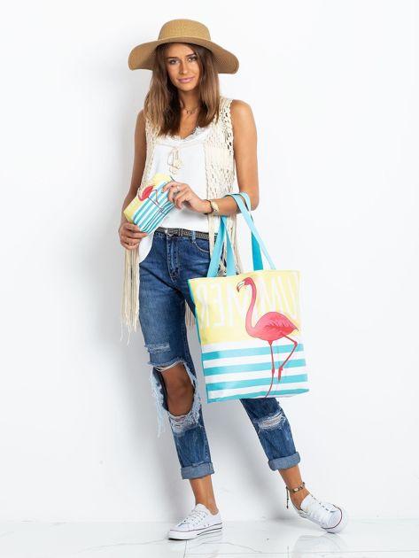 Żółto-niebieska torba z flamingiem                              zdj.                              8