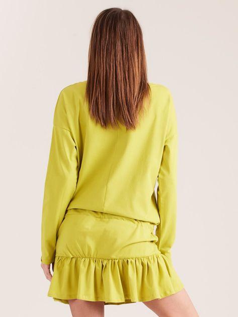 Żółto-zielona sukienka oversize z falbaną                              zdj.                              2