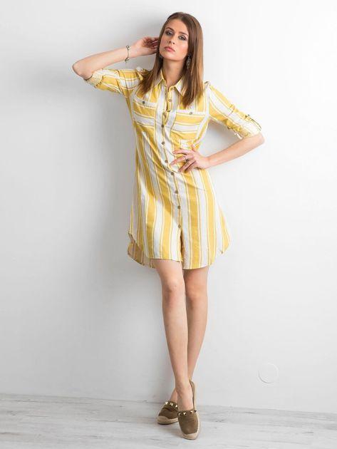 Żółto-zielona sukienka szmizjerka w paski                              zdj.                              4