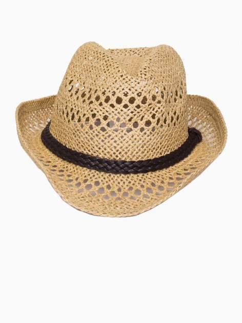 Żółty damski kapelusz kowbojski z ciemną plecionką                                  zdj.                                  2