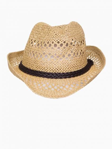 Żółty damski kapelusz kowbojski z ciemną plecionką                                  zdj.                                  6