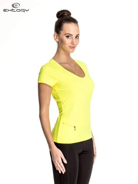 Żółty damski t-shirt sportowy z kieszonką                                  zdj.                                  3