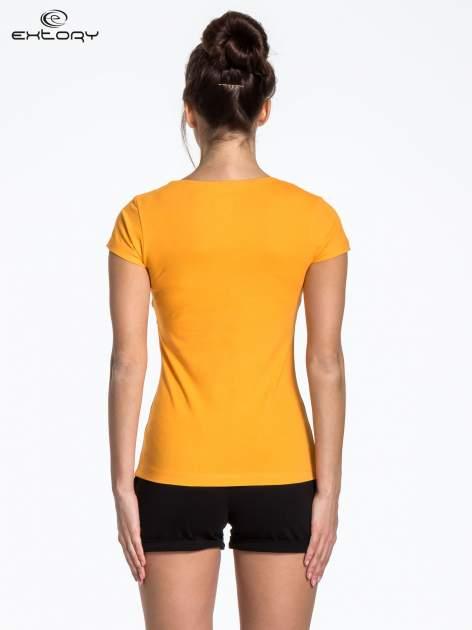 Żółty jednolity t-shirt sportowy                                  zdj.                                  3