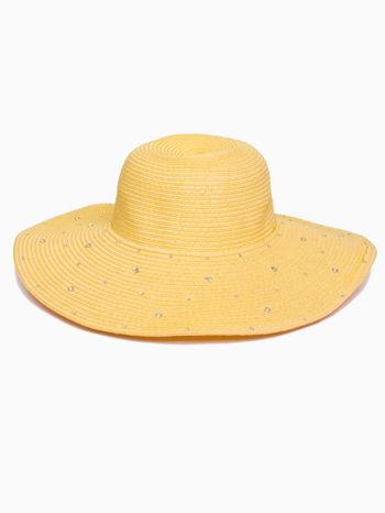 Żółty kapelusz z dużym rondem i dżetami                                  zdj.                                  2