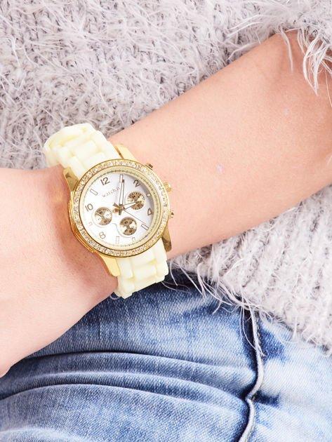 Żółty silikonowy zegarek damski                              zdj.                              3