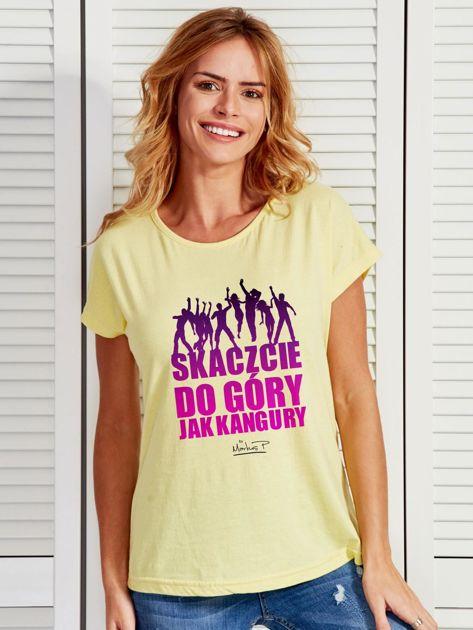 Żółty t-shirt damski DO GÓRY JAK KANGURY by Markus P                                  zdj.                                  1
