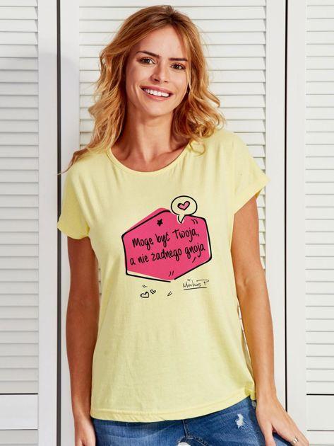 Żółty t-shirt damski MOGĘ BYĆ TWOJA by Markus P                              zdj.                              1