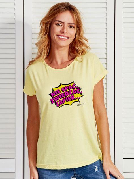Żółty t-shirt damski NIE SPAĆ, ZWIEDZAĆ by Markus P                              zdj.                              1