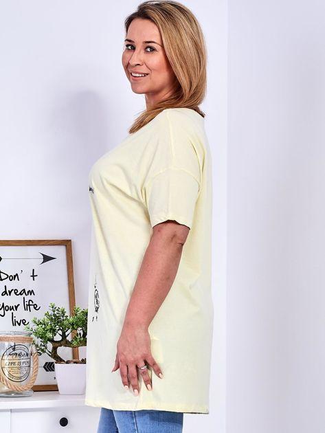 Żółty t-shirt z aplikacją PLUS SIZE                              zdj.                              5