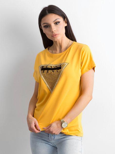 Żółty t-shirt z aplikacją i wycięciem z tyłu                              zdj.                              5