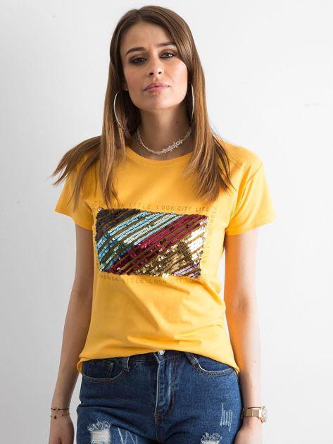 Żółty t-shirt z cekinami                              zdj.                              1