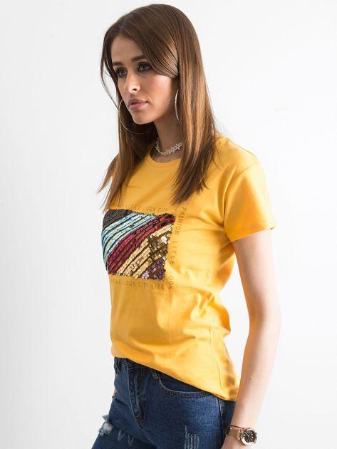 Żółty t-shirt z cekinami                              zdj.                              3