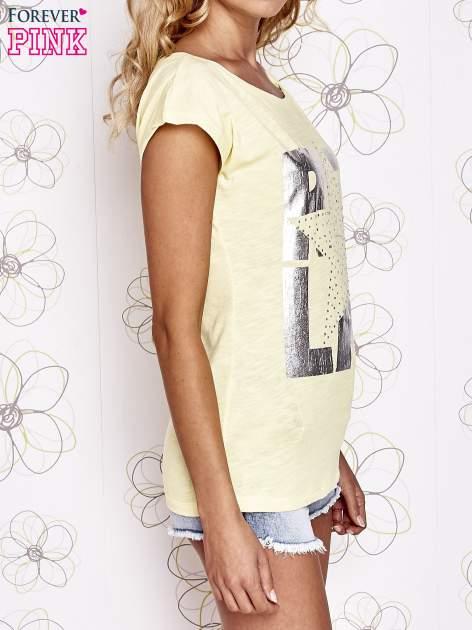 Żółty t-shirt z motywem gwiazdy i dżetami                                  zdj.                                  3