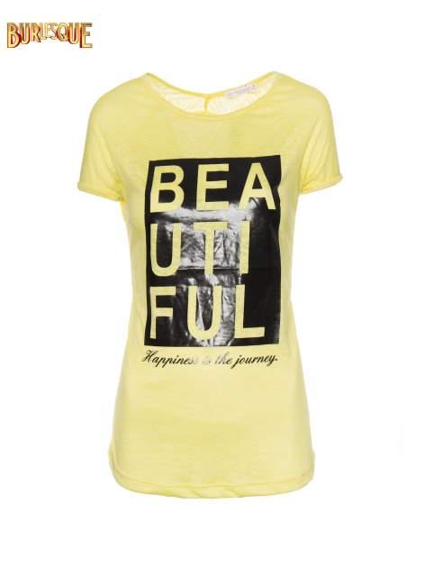 Żółty t-shirt z nadrukiem BEAUTIFUL                                  zdj.                                  1