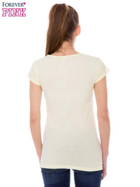 Żółty t-shirt z nadrukiem ICE CREAM                                  zdj.                                  3