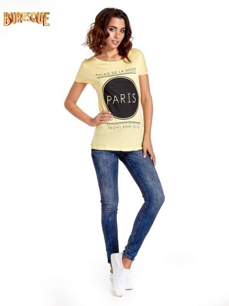 Żółty t-shirt z nadrukiem PARIS                                  zdj.                                  7