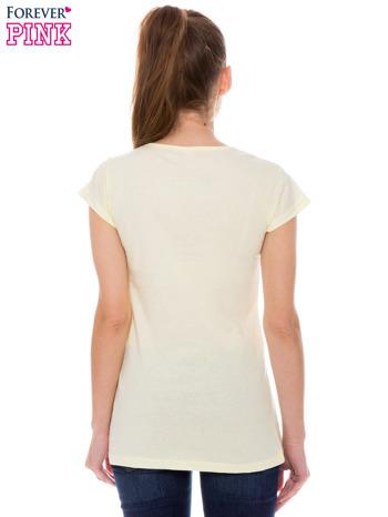 Żółty t-shirt z nadrukiem SMILE                                  zdj.                                  3