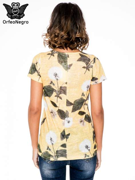 Żółty t-shirt z nadrukiem all over floral print                                  zdj.                                  4
