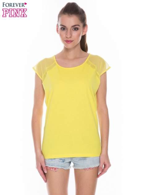 Żółty t-shirt z transparentnym tyłem                                  zdj.                                  1