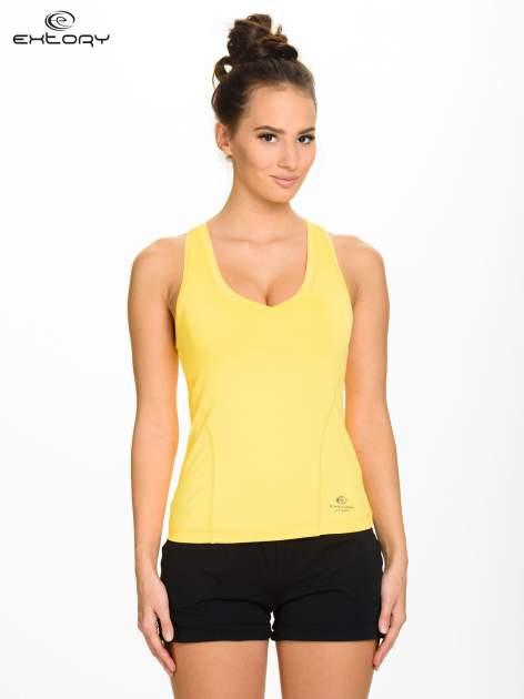 Żółty top sportowy z dekoltem V