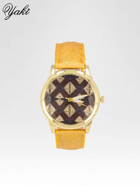 Żółty zegarek damski ze złotą kopertą i etno tarczą