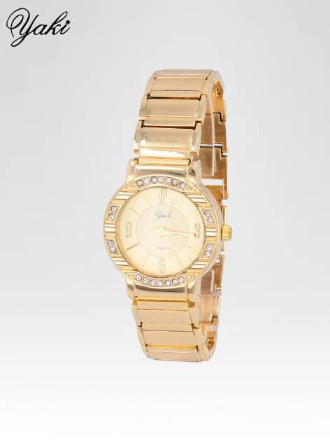 Zoty zegarek damski na bransolecie z okrągłą kopertą z cyrkoniami                                  zdj.                                  2