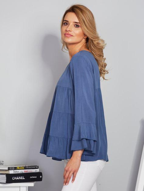 Zwiewna luźna bluzka niebieska                                  zdj.                                  5