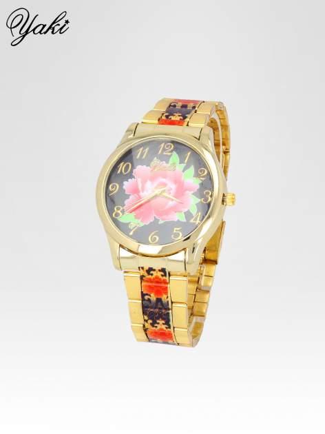 zegarek damski na bransolecie z czerwonym motywem kwiatowym                                  zdj.                                  2