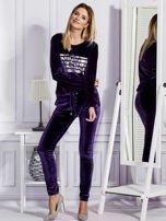Aksamitne spodnie dresowe fioletowe                                  zdj.                                  4