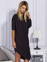 Asymetryczna sukienka w kratkę czarna                                  zdj.                                  5