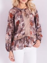 BY O LA LA Beżowa bluzka mgiełka ze wzorem i koronką                                  zdj.                                  2