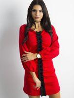 BY O LA LA Czerwona prążkowana sukienka                                   zdj.                                  5