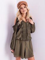 BY O LA LA Khaki sukienka cut out z plisowanym żabotem                                  zdj.                                  3