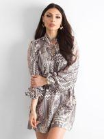 BY O LA LA Khaki sukienka we wzory                                  zdj.                                  1