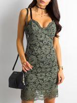 BY O LA LA Khaki sukienka koronkowa                                  zdj.                                  1