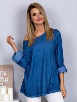 Bawełniana melanżowa bluzka ciemnoniebieska                                  zdj.                                  1