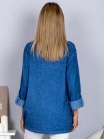 Bawełniana melanżowa bluzka ciemnoniebieska                                  zdj.                                  2