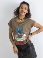 Bawełniany t-shirt khaki                                  zdj.                                  1