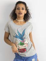 Bawełniany t-shirt szary                                  zdj.                                  5