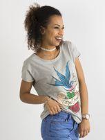 Bawełniany t-shirt szary                                  zdj.                                  3