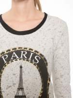 Beżowa bluza z nadrukiem wieży Eiffla                                                                          zdj.                                                                         5
