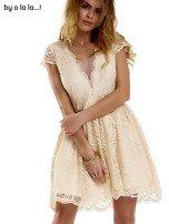 Beżowa koronkowa sukienka z siateczkową wstawką BY O LA LA                                  zdj.                                  2