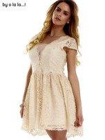Beżowa koronkowa sukienka z siateczkową wstawką BY O LA LA                                  zdj.                                  9
