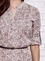 Beżowa koszula w łączkę z podwijanymi rękawami                                  zdj.                                  3