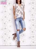 Beżowa koszula z kwiatowym motywem i ażurowym tyłem                                  zdj.                                  8